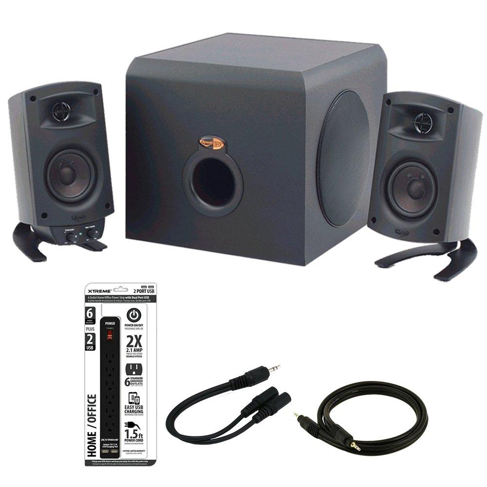 Klipsch ProMedia 2.1 THX Certified Computer Speaker System - 3-Piece Set (1011400) Black With Bonus Accessories