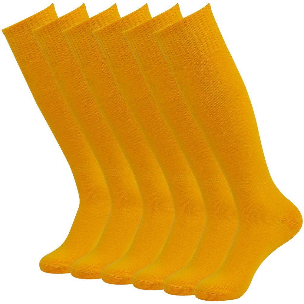 J'colour Soccer Socks Pack, Unisex Knee High Solid Breathable Compression Football Socks 6 Pairs Yellow by J'colour