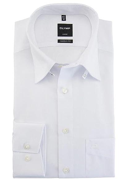 best website d22eb e368e OLYMP Luxor Herren Hemd modern fit Tab Kragen Uni weiß 0309 ...