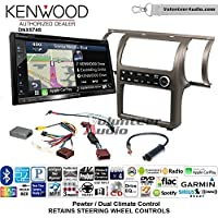 Volunteer Audio Kenwood DNX574S Double Din Radio Install Kit with GPS Navigation Apple CarPlay Android Auto Fits 2003-2004 Infiniti G35 (Pewter) (Dual zone A/C controls)