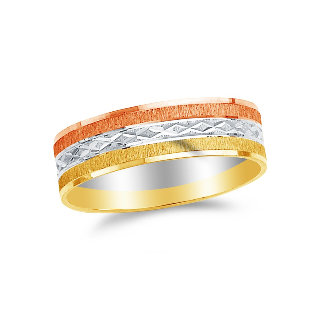 Jewel Tie Solid 14k Rose Yellow /& White Gold 6mm Diamond-Cut Mens Wedding Ring Band Size 10