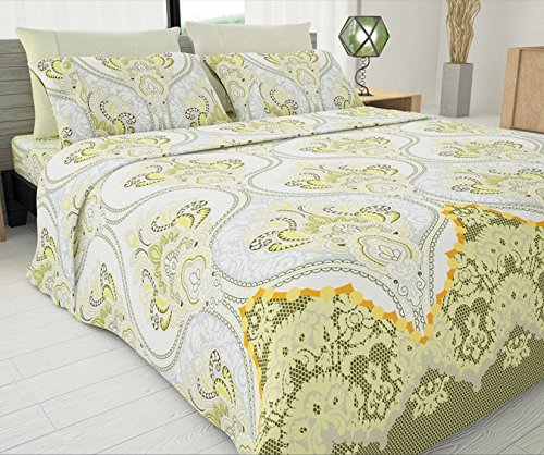Sapphire 1800 Collection 33333 Cotton Essential Designer 4 Pcs 1800 Series Printed Sheet Set In Double Side Brushed Micro Cotton Fabrication with Bonus Pillowcase by Sapphire,Paisley Green,Twin