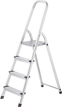 SONGMICS Escalera Tijera de Aluminio con 4 Peldaños, Escala Doméstica Plegable, Resistente a 150 kg GLT140: Amazon.es: Bricolaje y herramientas