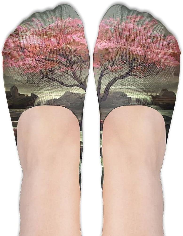 YISHOW Japanese Cherry Blossom Tree No-Show Socks Casual Anti Slip Low Cut Crew Boat Sock Hidden Flat Line