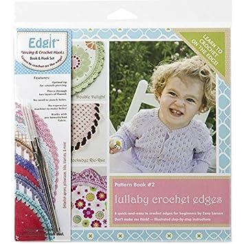 Ammees Babies EDGIT-E105 Edgit Piercing Crochet Hook and Book Set, Lullaby Crochet Edges