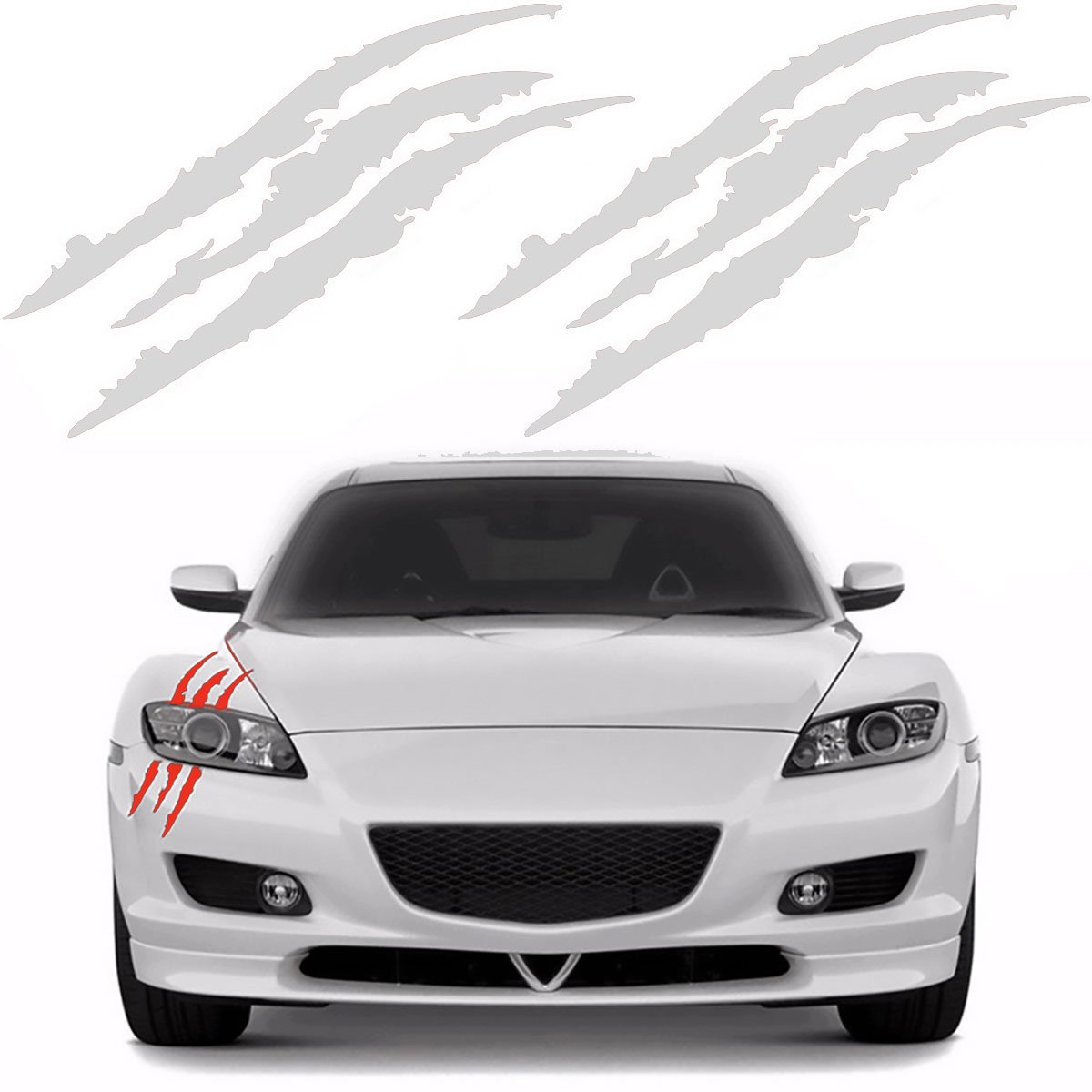 Amazon com 2 pcs claw marks decal reflective car scratch sticker for auto vehicle headlamp truck headlight decoration white one size