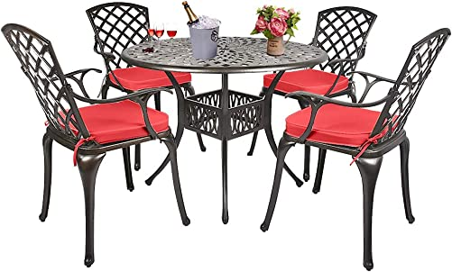 USSerenaY Cast Aluminum Bistro Set Outdoor Bistro Table Set Patio Furniture Sets with 4 Arm Chairs, Umbrella Hole, Antique Bronze Finish 4 Chairs 1 Table Set Lattice Weave