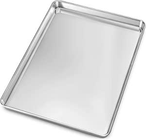 Baking Sheet, Yododo Stainless Steel Baking Pans Tray Cookie Sheet Toaster Oven Tray Pan Cookie Pan, Non Toxic & Healthy, Superior Mirror Finish & Rust Free, Easy Clean & Dishwasher Safe - 17.3 inch