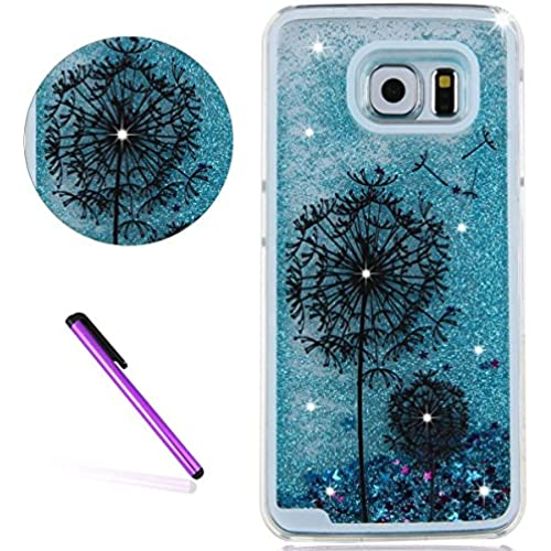 Galaxy S7 Edge Case,ISADENSER 3D Glitter Flowing Liquid Floating Quicksand Moving Hard Protective Case for Samsung Galaxy S7 Edge + 1 Stylus Pen Blue Two Dandelion Sales