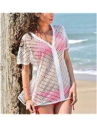 Women's Sexy Crochet Lace V-Neck Tunic Tops, Mesh Beach Swim Cover Up Dress