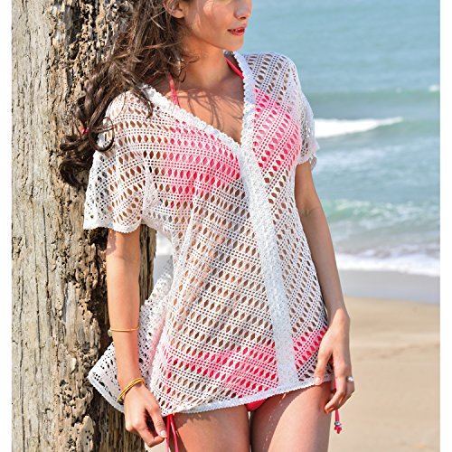 MG Collection Women's Sexy Crochet Lace V-Neck Tunic Tops, Mesh Beach Swim Cover Up Dress