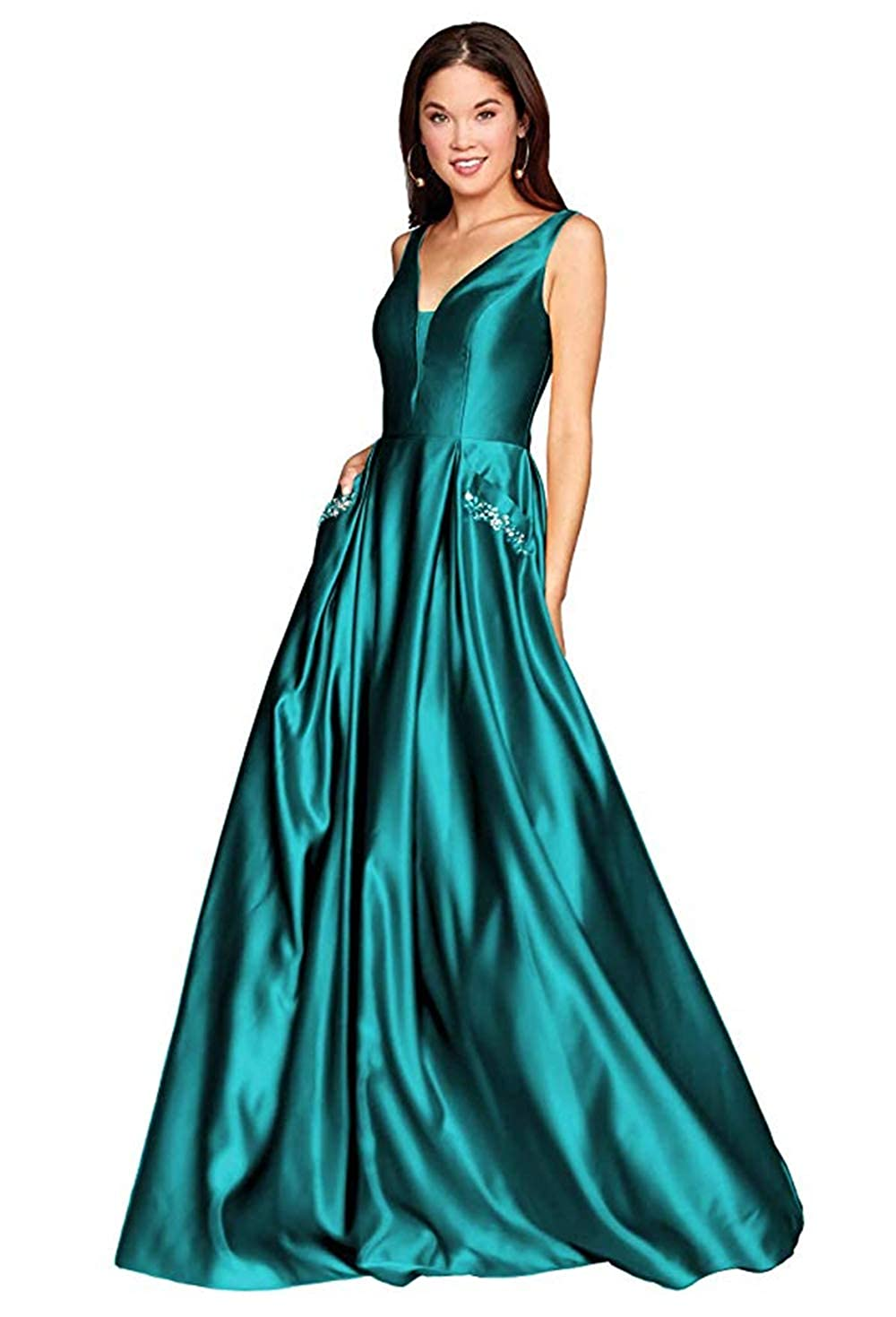 01teal PROMNOVAS Women's V Neck Backless Beaded Satin Prom Dress Long Formal Evening Gown with Pockets