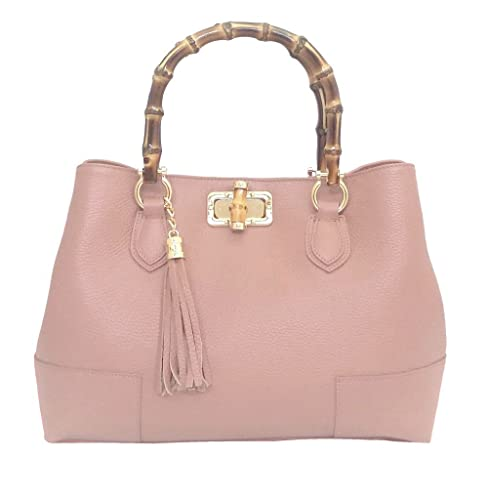 2ce2a552ca LUXURY LEATHER BAG Borsa DEEP ROSE in Vera Pelle Donna Made in Italy a spalla  mano