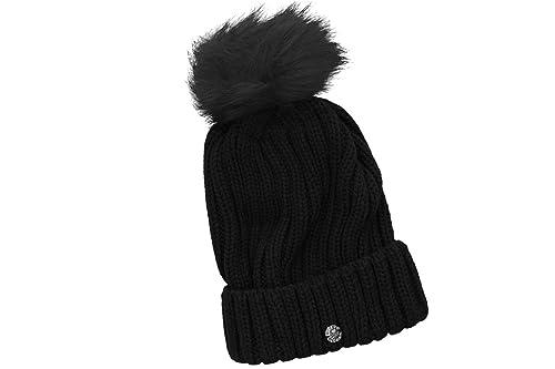Cappello donna GIANMARCO VENTURI nero con pompon e risvolto 100% acrilico