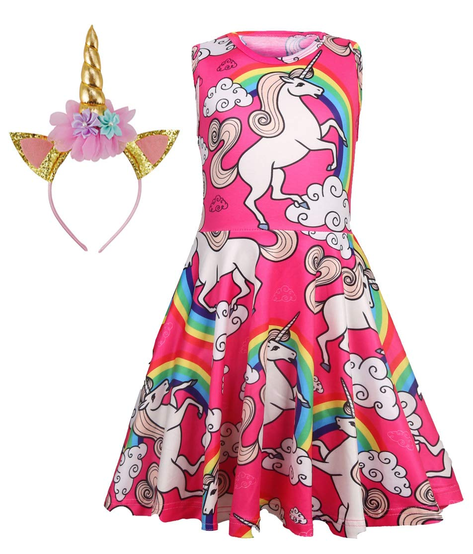 Unicorn Dress with Headband for Girls 4T 4 5 6 7 8 9 10 11