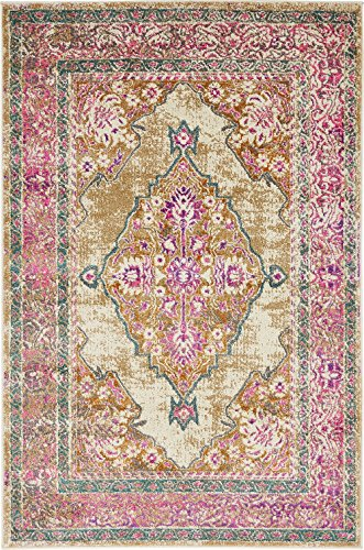 A2Z Rug Beige 4' x 6' FT St. Martin Collection Area rug - Vintage Inspired Overdyed Perfect for Living Dinning Room and Bedroom Rugs, Interior Modern Floor Carpet Design
