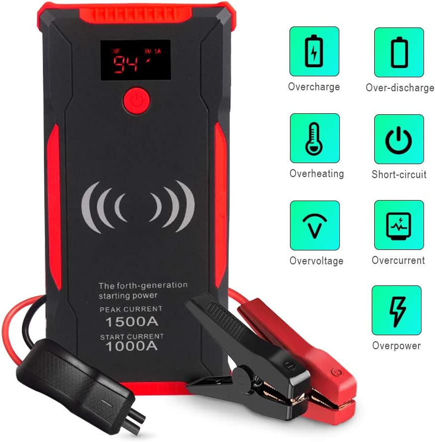 6.0L Diesel Engines) Portable Power Bank with Battery Clamp 1500A Peak 12V Car Battery Booster(Up to 5.0L Gas Dual USB Ports 1 LED Flashlight Airsnigi Car Jump Starter