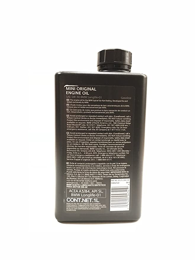 Amazon.com: MINI ORIGINAL ENGINE OIL SAE 5W-30 Gasoline 1 Liter: Automotive