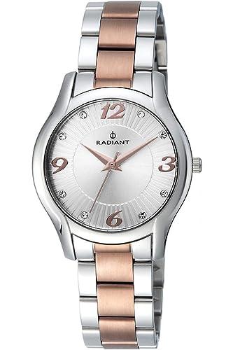 Reloj Radiant Señora. Acero Bicolor IP cobre. Esfera plata.: Amazon.es: Relojes