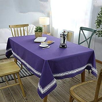 Amazon|テーブルクロス 北欧 花の辺 テーブルクロス 紫色の紫