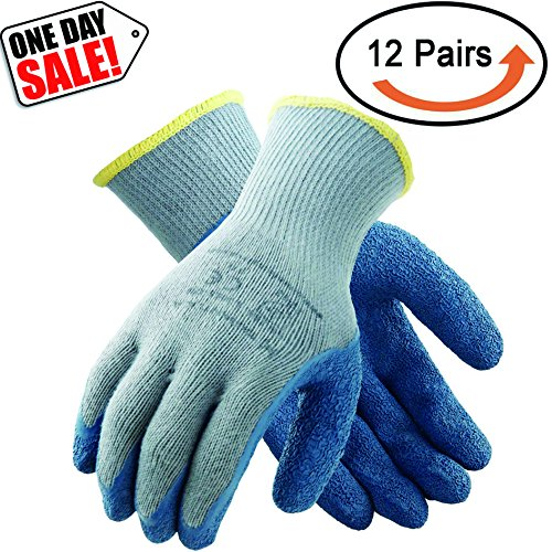 Crinkle Shell - Tarantula Pack of 12 Pairs Nylon Precision Protective Safety Work Gloves, 10 Gauge Grey Polycotton Shell, Blue Crinkle Latex on Palm and Fingers