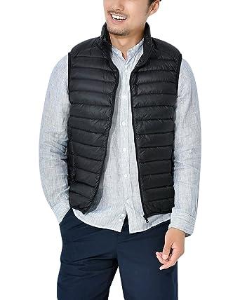0cb4b05d7d6 ZhuiKun Men's Down Gilet Vest Packable Ultralight Puffer Jacket Coat Black S