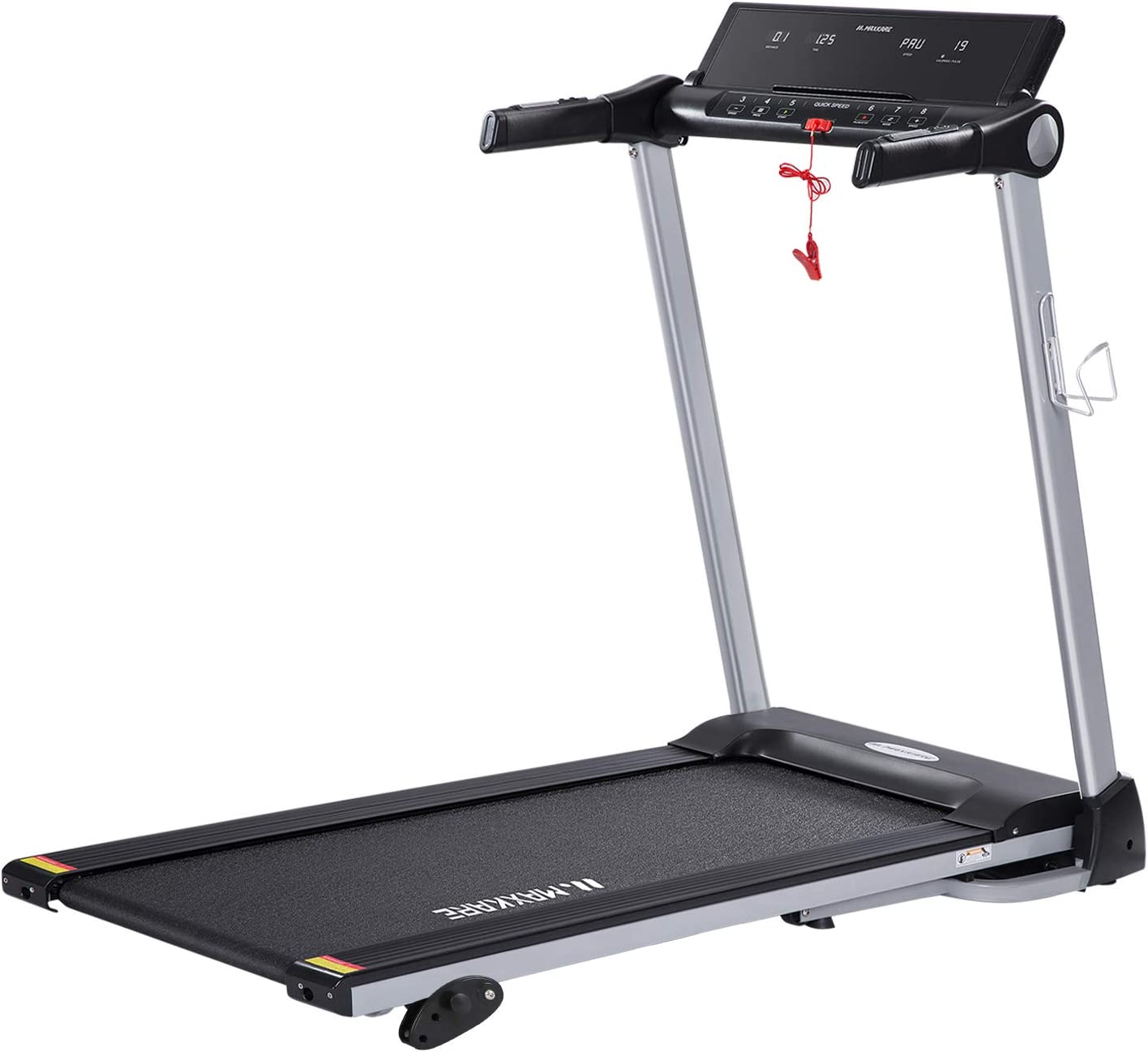 MaxKare Treadmill Portable Folding Home Run Exercise Machine with Manual Incline Electric Treadmill Workout with LCD Screen Cup Holder with 15 Pre-Set Programs 2.5HP Power Wide Tread Belt