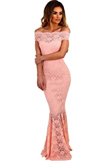 00f78a2c2fcc shelovesclothing Women s Off The Shoulder Bardot Lace Fishtail Maxi Dress  Evenings Weddings