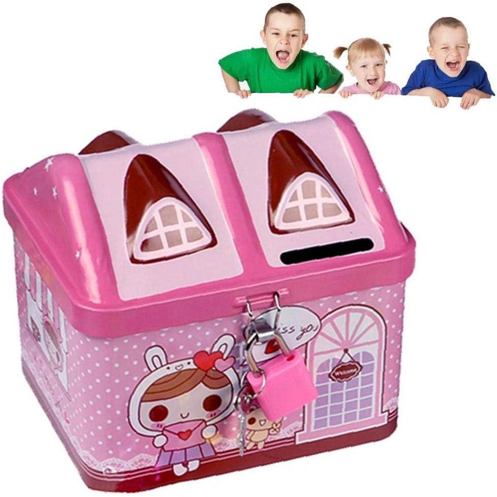 Rosa 12 * 9 * 10cm Sungpunet 1pc Iron House Piggy Bank Unbreakable Salvadanaio Bloccato Piggy Banche per Bambini del Fumetto di Piggy Bank