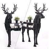 OTHER Wooden Deer Home Decor Living Room End Tables Self-built Puzzle Furniture,Black