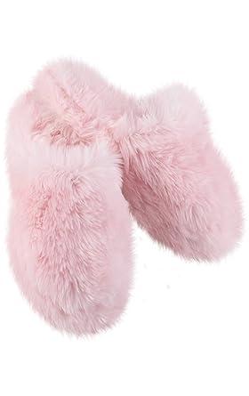 1b1a2eb5dcfe Amazon.com  PajamaGram Fuzzy Slippers for Women - Washable Slip-Ons ...