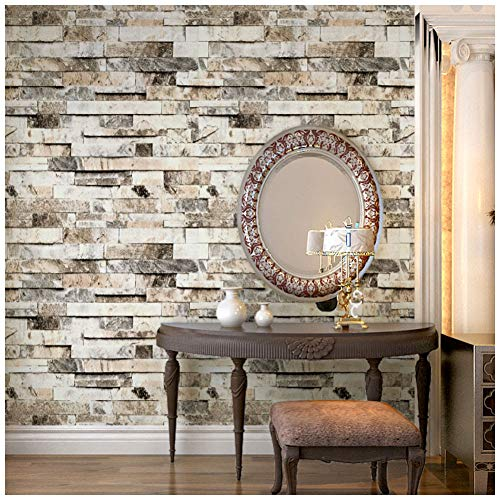 HaokHome 91301 Modern Faux 3d Brick Wallpaper Textured Brick Wallpaper Roll Beige/Grey/Brown 20.8