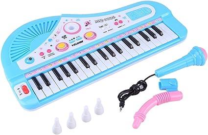 Zerodis Teclado electrónico Piano para niños, 37 Teclas con micrófono DC 6V Power Port Instrumento Educativo Toy Children Gift