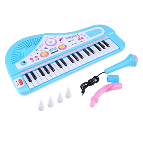 Zerodis Teclado electrónico Piano para niños, 37 teclas con micrófono DC 6V Power Port Instrumento