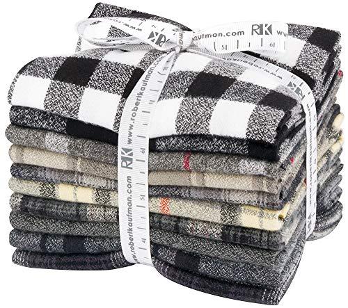 (Mammoth Flannel Black 10 Fat Quarters Robert Kaufman Fabrics FQ-1452-10)
