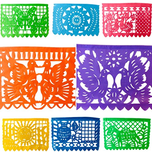 TexMex Fun Stuff Mexican Fiesta Papel Picado Banner- Classic Rainbow Plastic Large (16 Feet) Party Garland