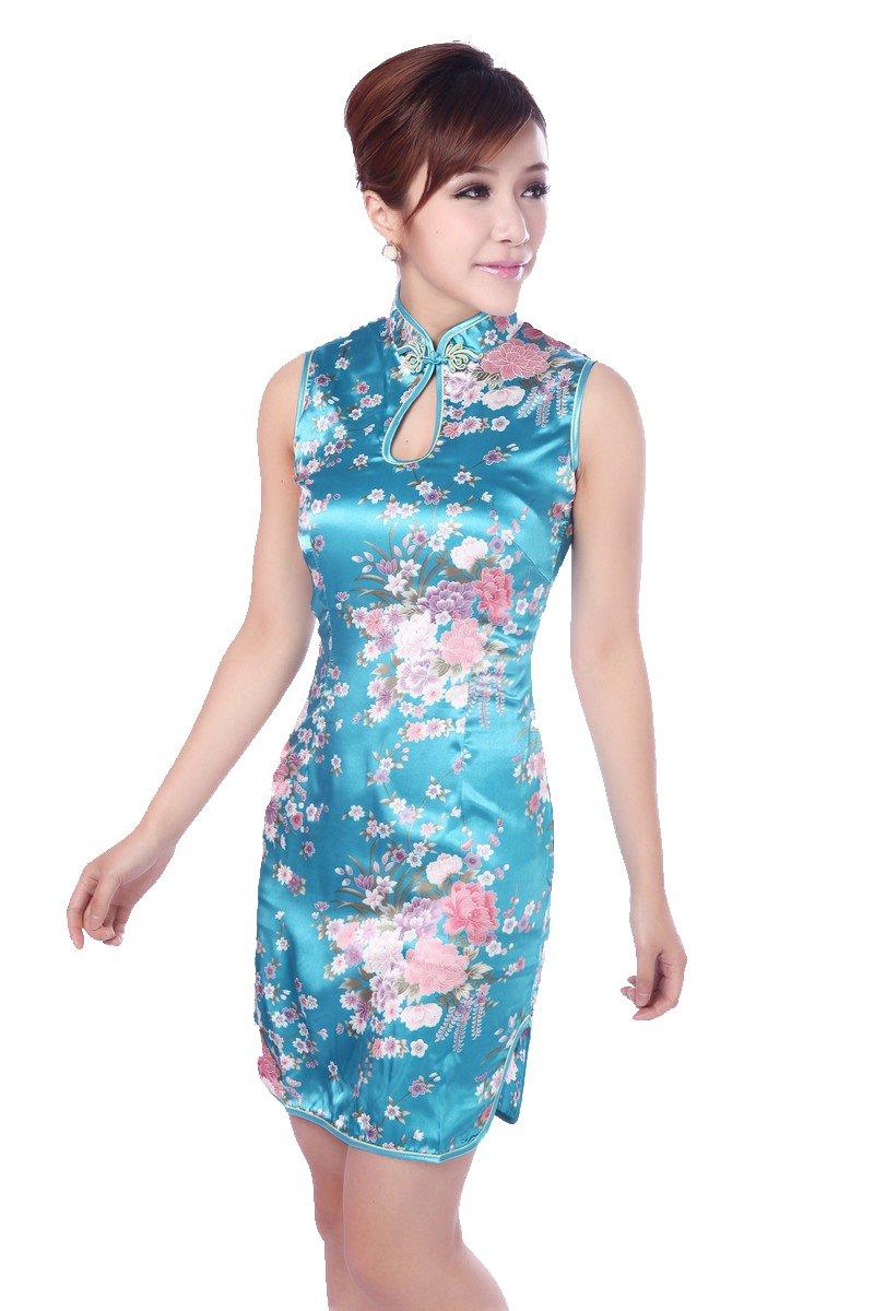JTC Women's Chinese Blue Silk Short Cheongsam Dress 1pc (8/10)