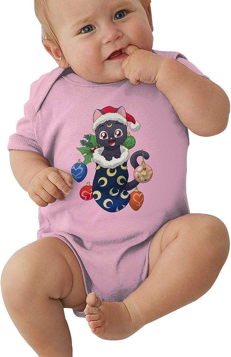 SHHXYS Sailor Moon Cat Luna Christmas Onesies Black Cute Bodysuit Baby Girl