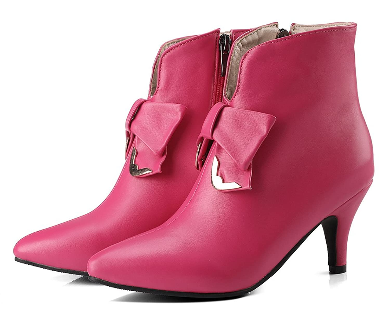 SHOWHOW Damen Süß Schleife Kurzschaft Stiefel Mit Absatz Stiefelette Pink 40 EU D26ypcPy