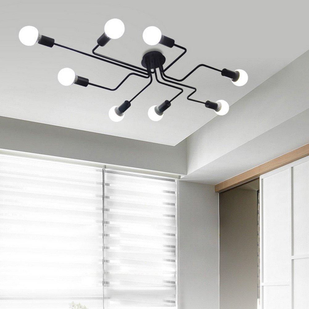 BAYCHEER Industrielampe Deckleuchte Deckenlampe 8 Flammige Lampenfassung Schmiedeeisen Lampe Kronleuchte Pendellampe (8 lampen)