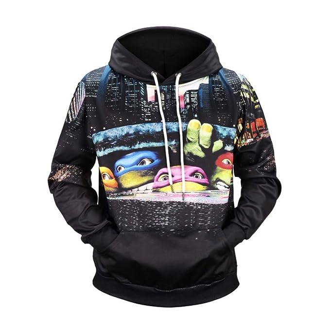 HYSDYWY Sudaderas Tortuga Ninja De Dibujos Animados Impreso Sombrero Guardia Ropa Amantes Sombrero Camisas Sueltas En Otoño E Invierno Sudaderas con ...