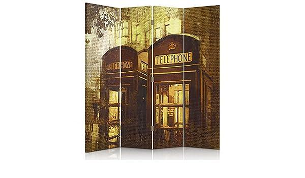 Feeby Frames Biombo impreso sobre lona, tabique decorativo para habitaciones, a una cara, de 4 piezas (145x150 cm), CABINAS TELEFONICAS, CABINAS VINTAGE, LONDRES, LONDON, BEIGE, CIUDAD DE LONDRES, AMARILLO: Amazon.es: Hogar