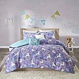 Urban Habitat Kids Lola Twin/Twin XL Duvet Cover Set Girls Bedding - Purple, Aqua, Unicorns – 4 Piece Kids Girls Duvet Set – 100% Cotton Bed Duvet Covers
