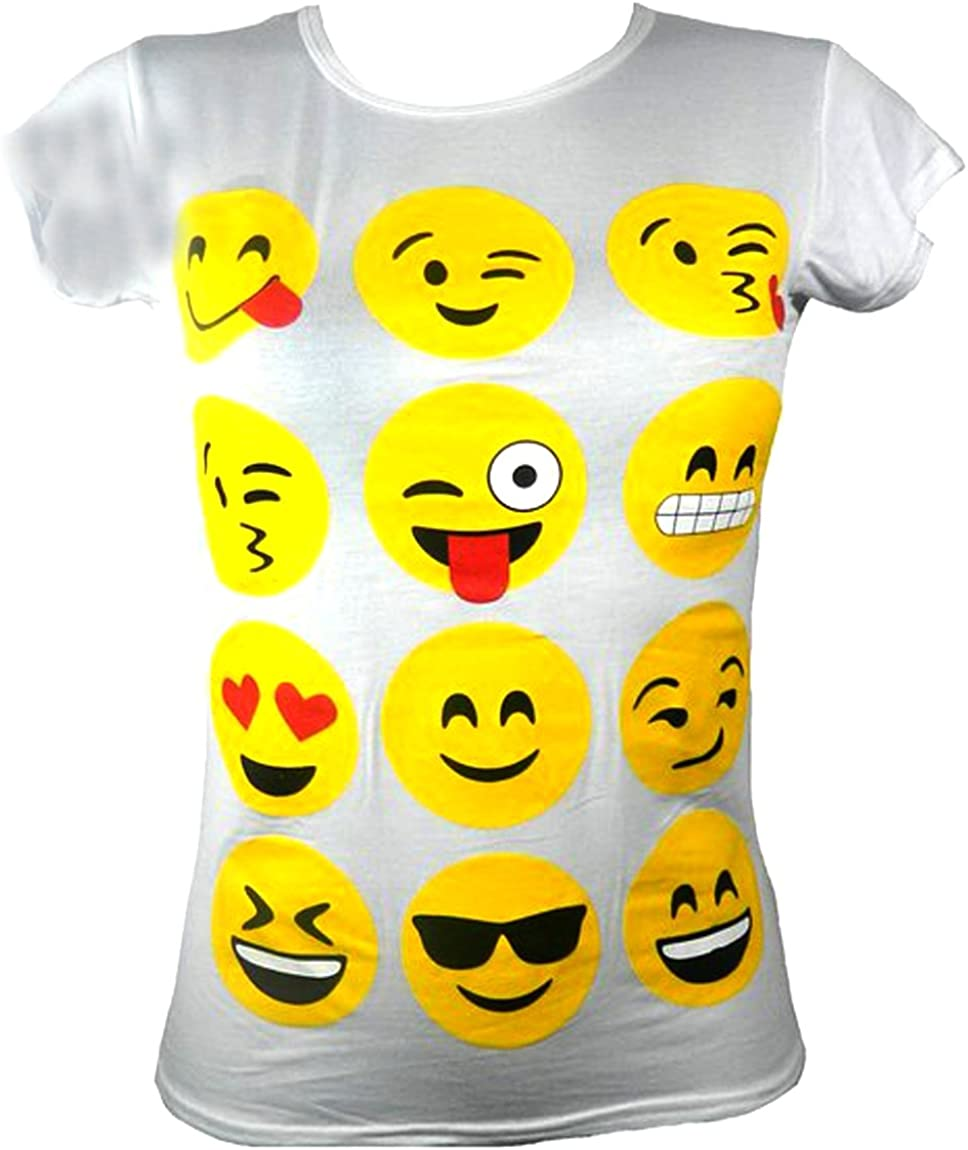 KIDS EMOJI EMOTICONS SMILEY FACES SHORT SLEEVE T-SHIRTS TOPS GIRLS AGE NEW