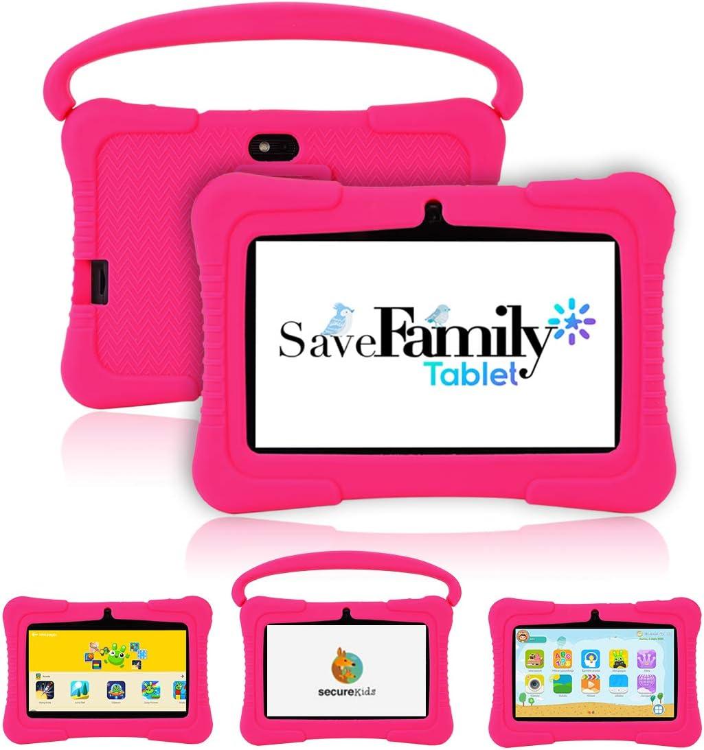 Tablet SaveFamily para niños pedagógica con navegador Infantil, Doble Control Parental, Evita Contenido inapropiado, Anti-Bullying, +de100 Juegos. Módulo Montessori, Funda de Silicona. Marca española