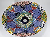 17'' TALAVERA SINK, drop in mexican bathroom sink, handmade ceramic, mexico folk art