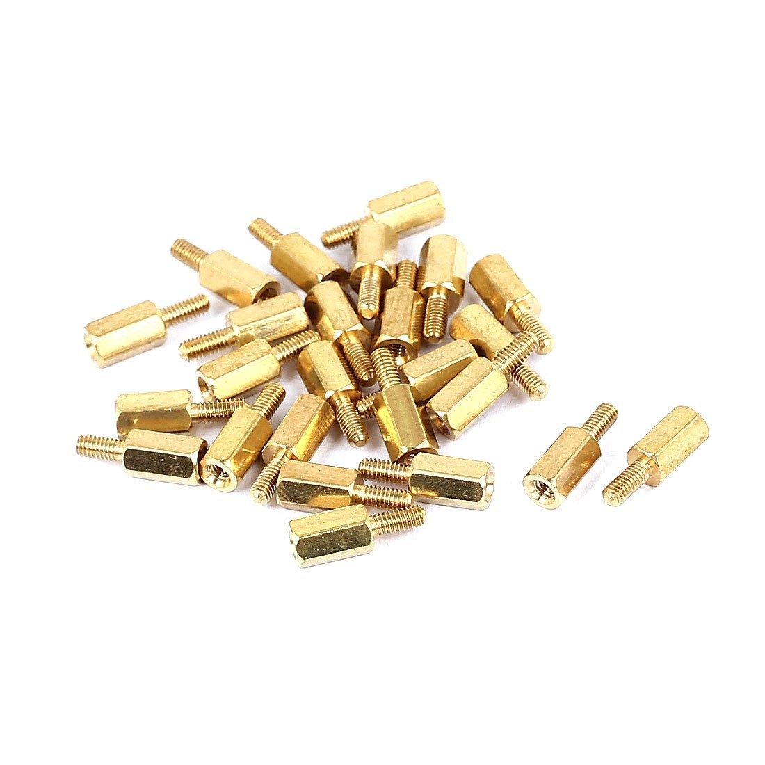 uxcell M3x8 6mm Female//Male Threaded Brass Hex Standoff Pillar Spacer 25pcs