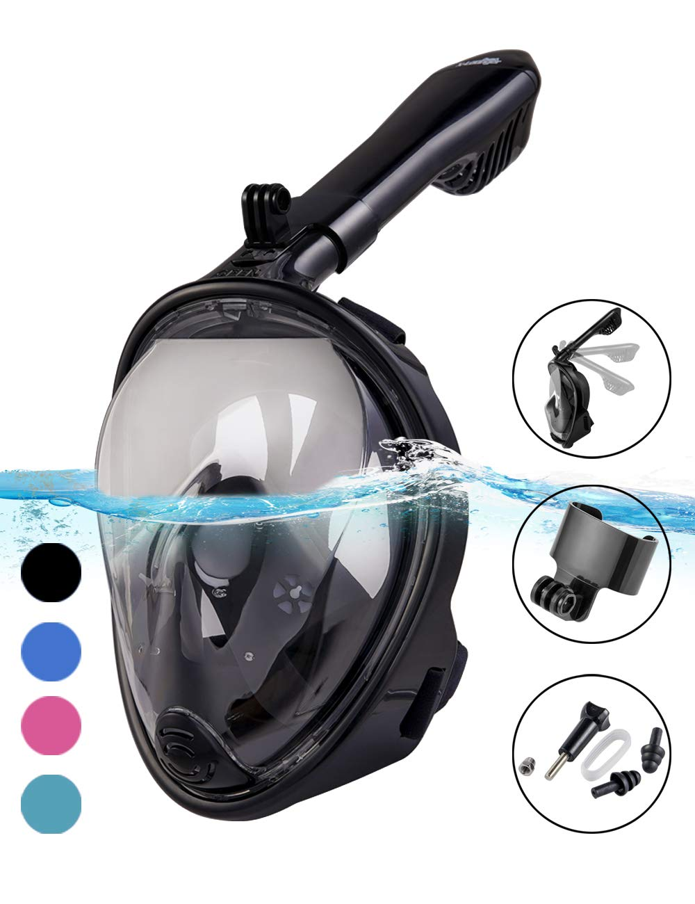 X-Lounger Snorkel Mask, 2019 New Foldable Snorkeling Mask Full Face with Detachable Camera Mount Pivot Arm and Earplug, 180° Large View Easy Breath Dry Top Set Anti-Fog Anti-Leak for Adults Black S M