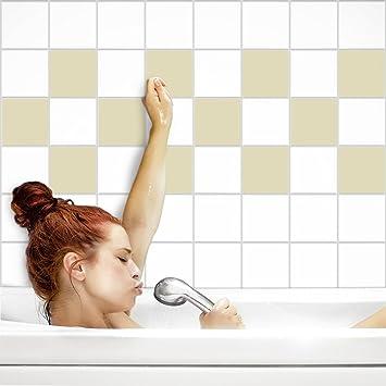 Fliesenaufkleber Für Küche Und Bad | Fliesenfolie Für 15x15cm Fliesen |  Einfarbig Elfenbein Matt | 22