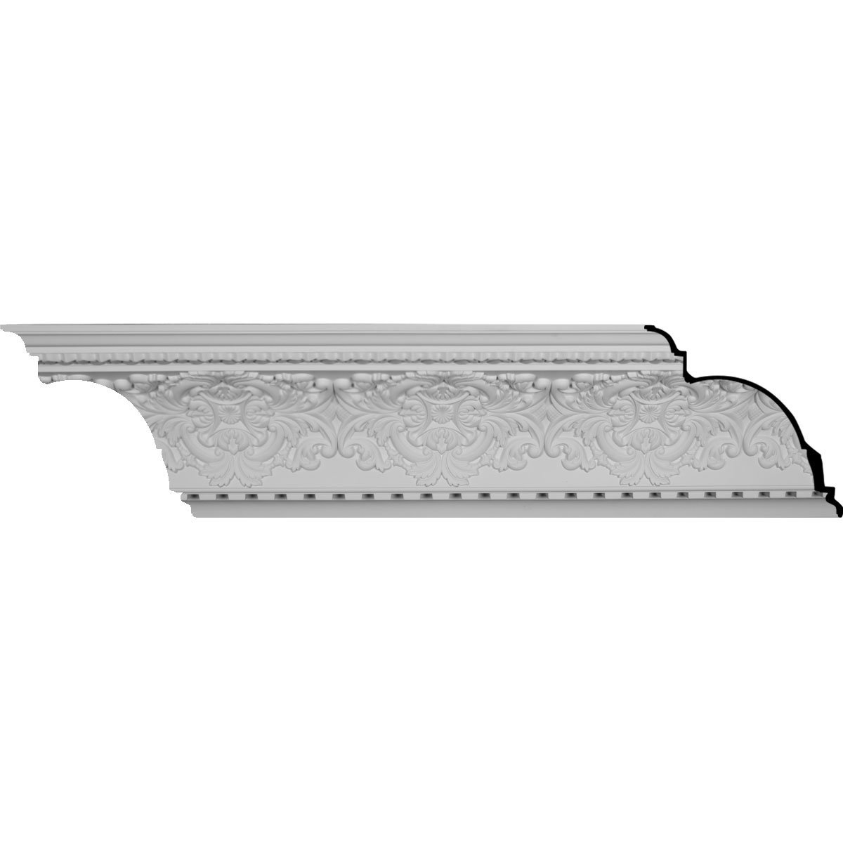 Ekena Millwork MLD17X16X23NO-CASE-12 17-3/4'' H x 16-1/8'' P x 23-7/8'' F x 95-7/8'' L Norwich Crown Molding with 16-3/8'' Repeat (12-Pack)